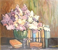 still life with books and flowers by aubrey fielding