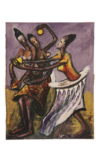 three african women dancing by ben enwonwu