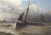 ostende fishing boats running into their homeport in a squall by eugene jacques hubert wolters