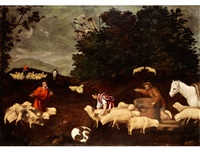 hirten mit ihren herden in einer landschaft by leandro da ponte bassano