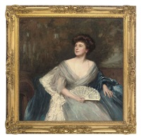 portrait of mrs james herbert wild (née sarah alice nesbit rhodes of glossop), seated, in a light blue dress and dark blue wrap, holding a fan by maud hall (rutherford) neale