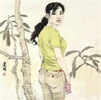 女青年 镜片 设色纸本 by sang jianguo