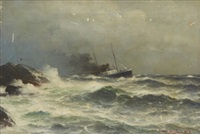 ångfartyg vid kust by lars laurits larsen haaland