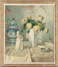 yellow roses with a white figurine by paul walter ehrhardt