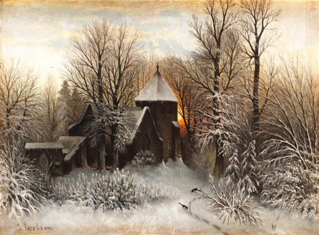 vinterlandskap med kyrka by sophus jacobsen