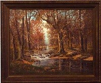 autumn landscape with stream by richard kruger