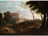 römische landschaft mit kolosseum und figurenstaffage by andrea locatelli