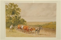 ploughing scene in an extensive landscape by robert hills
