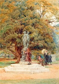 a drinking fountain at hampton court by walter duncan