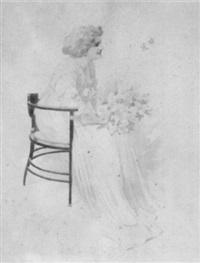 sitzende dame mit blumenstrauß by karl simonek