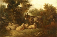 wooded landscape with a donkey and sheep by emily p. smythe