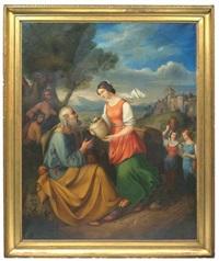 rebecca und eliezer am brunnen by heinrich leibnitz