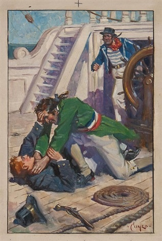 illustration to noel howard midshipman 9 others mixed media 10 works by terence cuneo