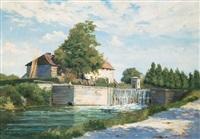 angler an der schleuse (landschaft bei pont-aven) by jacinthe pozier