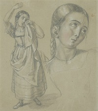 stehendes weinendes mädchen (+ another; 2 sketches on 1 sheet) by ludwig vogel