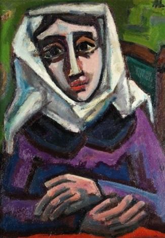 porträt einer nonne frau mit gelbem fächer verso by herbert helmert