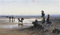 ostronplockerskor vid kusten by frithjof smith-hald