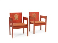 a pair of 'prince of wales investiture' red painted and parcel gilt chairs (pair) by snowdon