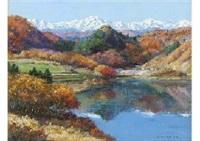 landscape in calm autumn (nagano pref, shinshu) by toshio samada