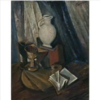 still-life with pitcher by roman vasilievich gershanik