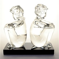 figural group of two boys by loredano rosin
