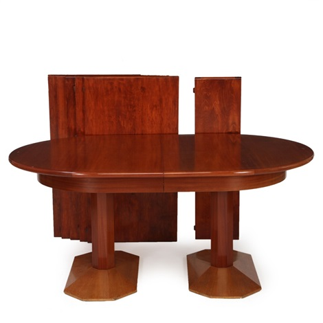 Oval Two Pillar Dining Table Of Cuban Mahogany On Octagonal Legs, Extension  And Six