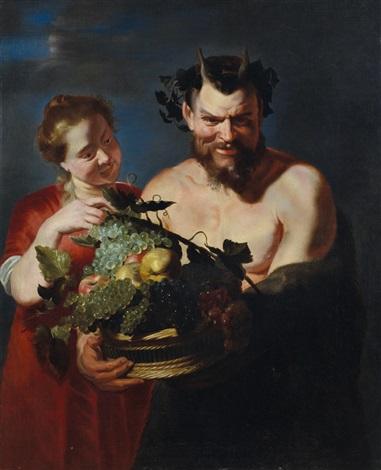 fauno con cesto di frutta e baccante by frans snyders