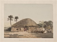 elephant and figures by a temple tank, madras; brahamany village hut (3 works) by john gantz