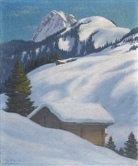 winterlandschaft bei adelboden by hans arnold daepp