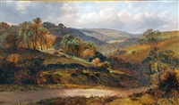 panoramic landscape with hilltop village in the distance by clarence henry roe