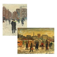 closing time at b&w (+ wintry street scene; 2 works, different sizes) by cort jacobsen