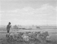 schäfer mit herde auf morgendlicher weide in den voralpen by leonore (leo) hiller-baumann