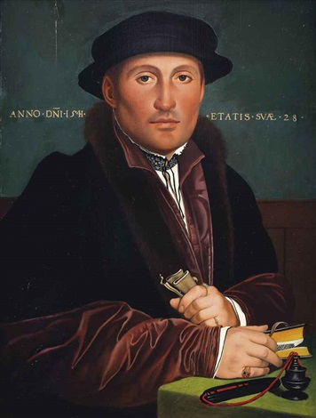 portrait of a gentleman half length in a red and black furlined coat with a black hat holding a book and a piece of paper by hans holbein the younger