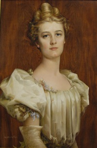 portrait of a lady in white dress by charles frederick naegele