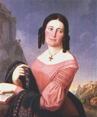 portrait einer frau mit schal by franz sales lochbihler