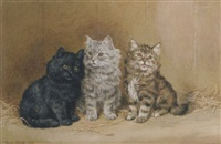 three kittens in a barn by frank paton