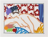 judy reaching over table by tom wesselmann