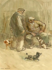 two men with terriers and a poodle by roland batchelor