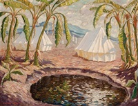 desert scene with tents by norman lloyd