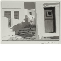 siphnos, greece girl on stairs by henri cartier-bresson