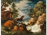 das friedliche zusammenleben der tiere im paradies by roelandt savery