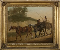 two farmers with a horse-drawn cart by john francis sartorius