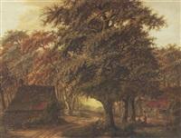 landschaft mit bauernkaten und alten eichen by ter apel