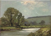 a river landscape, afternoon by james aumonier