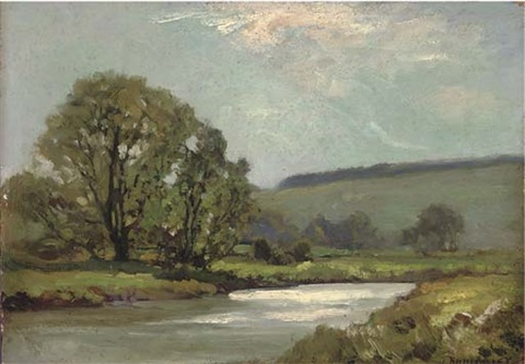 a river landscape afternoon by james aumonier