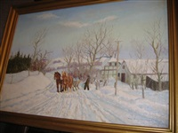 cottage in winter landscape by alfred brangaard andersen