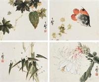 花鸟 (四帧) (4 works, various sizes) by liang zhanfeng