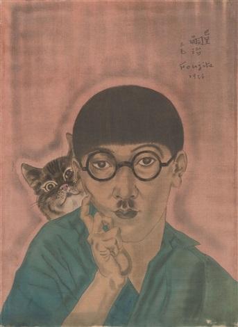 autoportrait au chat by léonard tsuguharu foujita