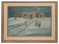 two subjects fetching water from their well in the snow by howard bobbs