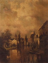 dutch canal scene by cesare pesaro
